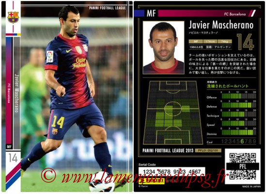 Panini Football League 2013 - PFL01 - N° 052 - Javier Mascherano ( FC Barcelona )