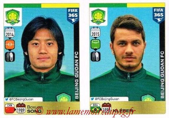 2015-16 - Panini FIFA 365 Stickers - N° 275-276 - Boxuan SONG + KLEBER (Beijing Guoan FC)