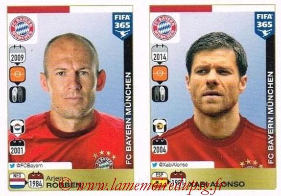 2015-16 - Panini FIFA 365 Stickers - N° 485-486 - Arjen ROBBEN + Xabi ALONSO (FC Bayern Munich)