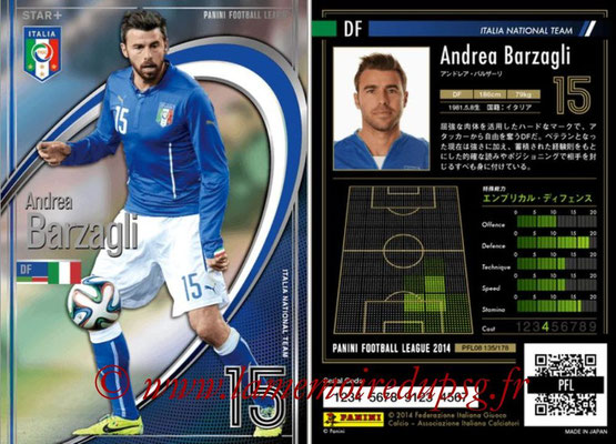 Panini Football League 2014 - PFL08 - N° 135 - Andrea BARZAGLI (Italie) (Star +)