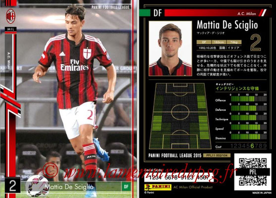 Panini Football League 2015 - PFL11 - N° 002 - Mattia DE SCIGLIO (Milan AC)
