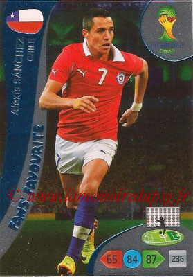 2014 - Panini FIFA World Cup Brazil Adrenalyn XL - N° 330 - Alexis SANCHEZ (Chili) (Fan's favorite)