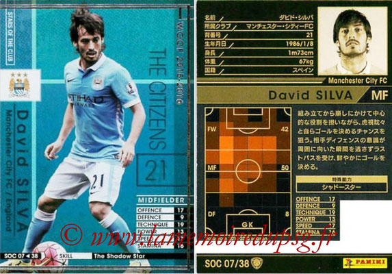 2015-16 - Panini WCCF - N° SOC07 - David SILVA (Manchester City FC) (Stars Of The Club)