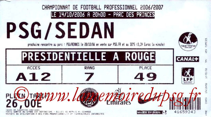 Tickets  PSG-Sedan  2006-07