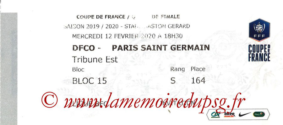 Ticket  Dijon-PSG  2019-20