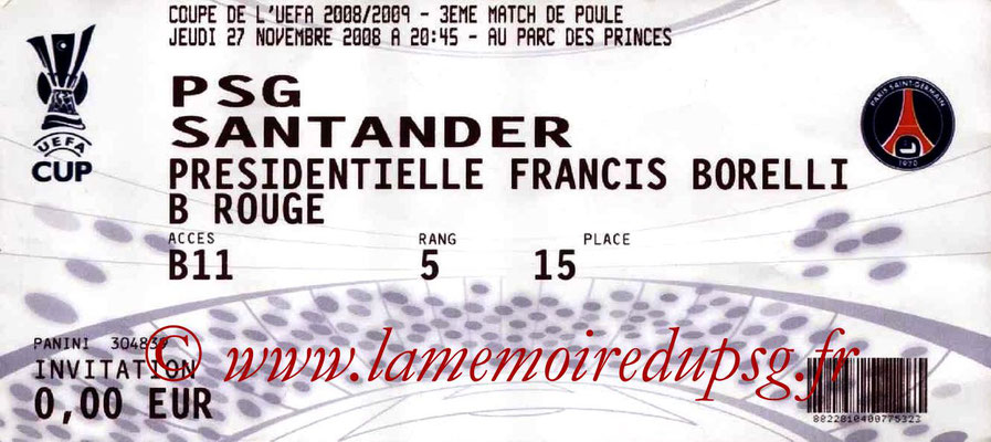 Tickets  PSG-Racing Santander  2008-09