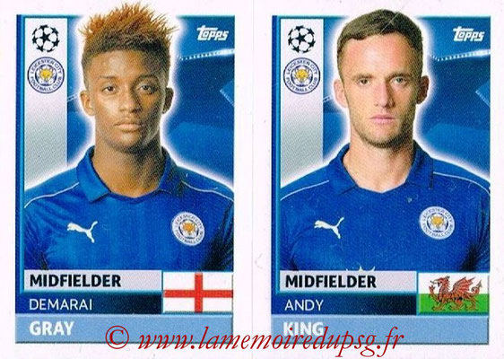 2016-17 - Topps UEFA Champions League Stickers - N° LEI 14-15 - Andy KING + Demarai GRAY (Leicester City FC)