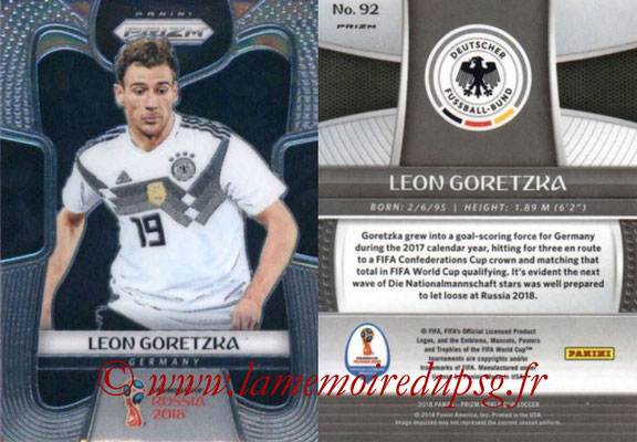 2018 - Panini Prizm FIFA World Cup Russia - N° 092 - Leon GORETZKA (Allemagne)