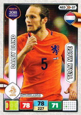 2018 - Panini Road to FIFA World Cup Russia Adrenalyn XL - N° NED07 - Daley BLIND (Pays-Bas)