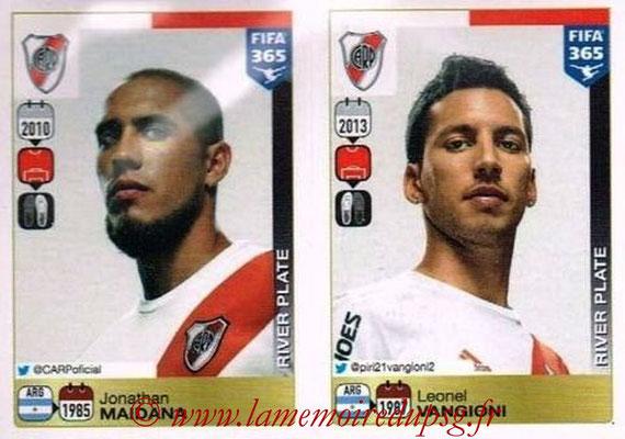 2015-16 - Panini FIFA 365 Stickers - N° 106-107 - Jonathan MAIDANA + Leonel VANGIONI (River Plate)