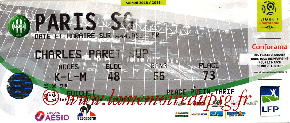Ticket  Saint Etienne-PSG  2018-19
