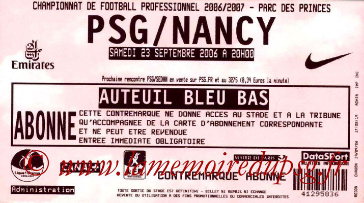 Tickets  PSG-Nancy  2006-07