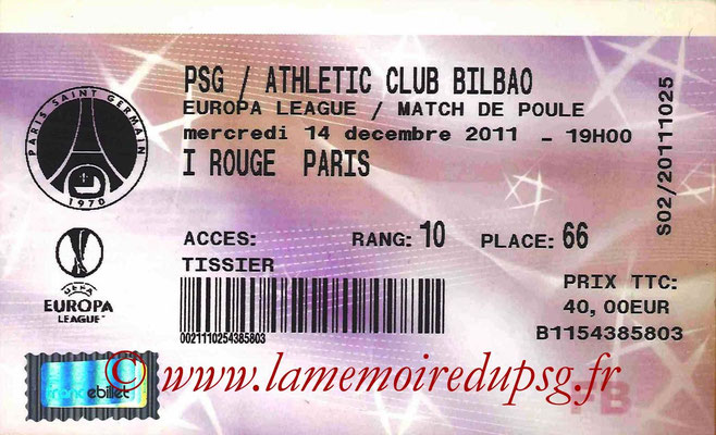 Tickets  PSG-Athletic Bilbao  2011-12