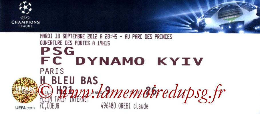 Tickets  PSG-Dynamo Kiev  2012-13