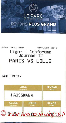 Tickets  PSG-Lille  2018-19