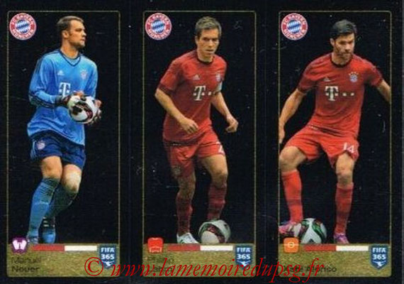 2015-16 - Panini FIFA 365 Stickers - N° 473-474-475 - Manuel NEUER + Philipp LAHM + Xabi ALONSO (FC Bayern Munich)
