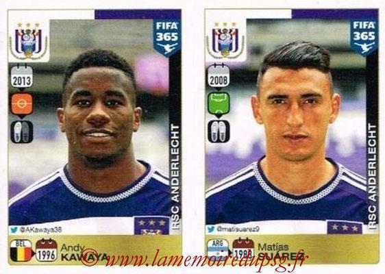 2015-16 - Panini FIFA 365 Stickers - N° 157-158 - Andy KAWAYA + Matias SUAREZ (RSC Anderlecht)