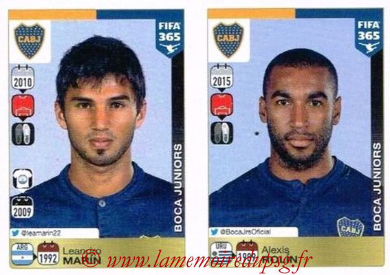 2015-16 - Panini FIFA 365 Stickers - N° 076-077 - Leandro MARIN + Alexis ROLIN (CA Boca Juniors)