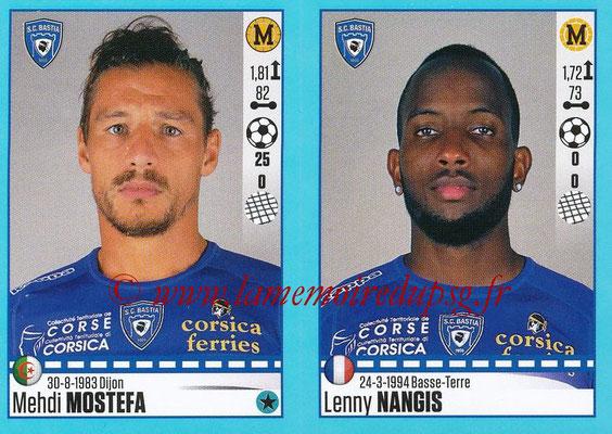 2016-17 - Panini Ligue 1 Stickers - N° 078 + 079 - Mehdi MOSTEFA + Lenny NANGIS (Bastia)