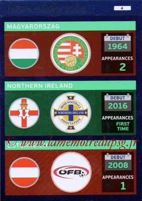 Panini Euro 2016 Cards - N° 004 - Hongrie + Irlande du Nord + Autriche