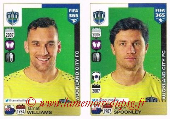 2015-16 - Panini FIFA 365 Stickers - N° 672-673 - Tamati WILLIAMS + Jacob SPOONLEY(Auckland City FC)