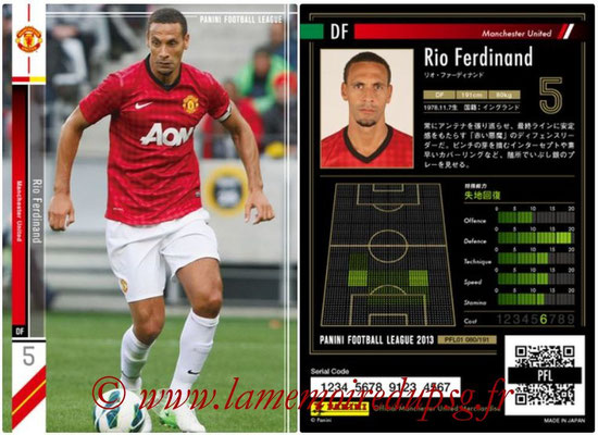 Panini Football League 2013 - PFL01 - N° 080 - Rio Ferdinand ( Manchester United  )