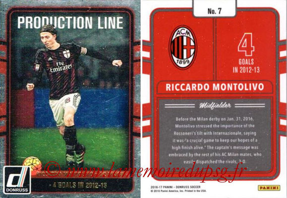 2016 - Panini Donruss Cards - N° PL07 - Riccardo MONTOLIVO (AC Milan) (Production Line)