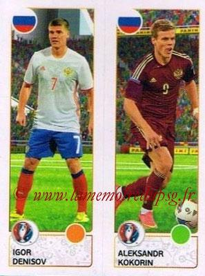 Panini Euro 2016 Stickers - N° 159 - Igor DENISOV + Aleksandr KOKORIN (Russie)