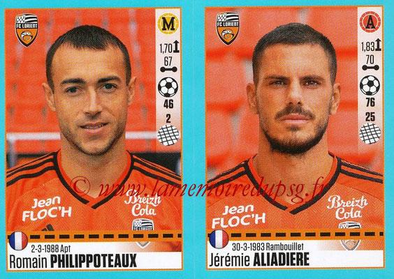 2016-17 - Panini Ligue 1 Stickers - N° 332 + 333 - Romain PHILIPPOTEAUX + Jérémie ALIADIERE (Lorient)