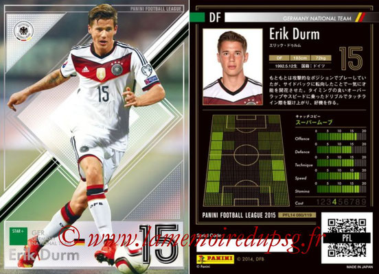 Panini Football League 2015 - PFL14 - N° 080 - Erik DURM (Allemagne) (Star +)