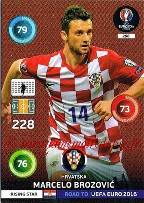 Panini Road to Euro 2016 Cards - N° 268 - Marcelo BROZOVIC (Croatie) (Rising Star)