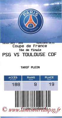 Tickets  PSG-Toulouse  2015-16