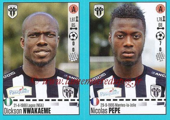 2016-17 - Panini Ligue 1 Stickers - N° 040 + 041 - Dickson NWAKAEME + Nicolas PEPE (Angers)