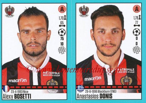 2016-17 - Panini Ligue 1 Stickers - N° 670 + 671 - Alexy BOSSETI + Anastasios DONIS (Nice)
