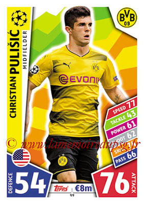 2017-18 - Topps UEFA Champions League Match Attax - N° 099 - Christian PULISIC (Borussia Dortmund)