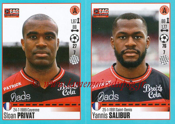 2016-17 - Panini Ligue 1 Stickers - N° 252 + 253 - Sloan PRIVAT + Yannis SALIBUR (Guingamp)