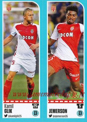 2016-17 - Panini Ligue 1 Stickers - N° 474 + 475 - Kamil GLIK + JEMERSON (Monaco)