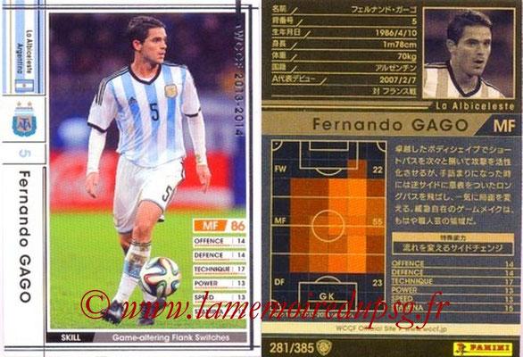 2013-14 - WCCF - N° 281 - Fernando GAGO (Argentine)