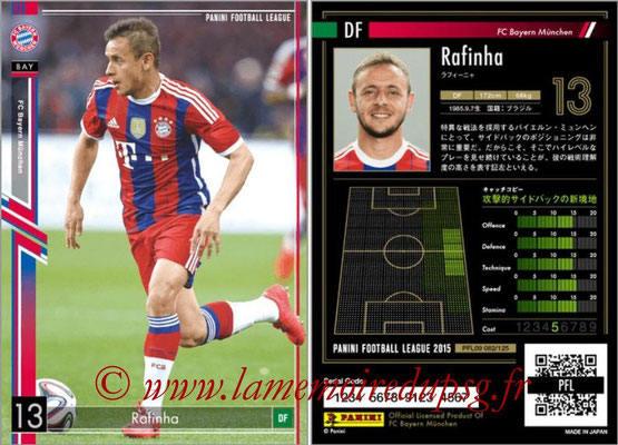 Panini Football League 2015 - PFL09 - N° 082 - RAFINHA (Bayern Munich)