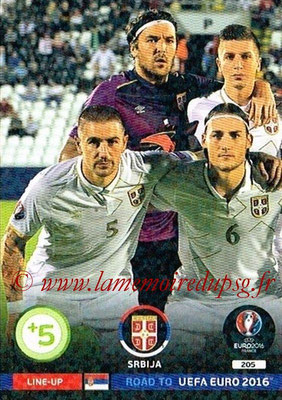 Panini Road to Euro 2016 Cards - N° 205 - Equipe Serbie 1