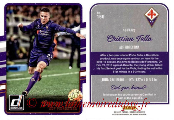 2016 - Panini Donruss Cards - N° 160 - Cristian TELLO (ACF Fiorentina)