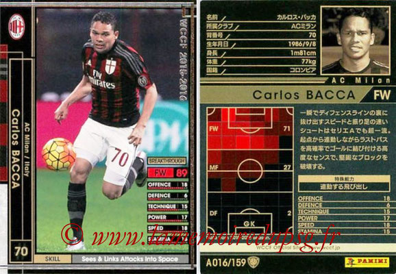2015-16 - Panini WCCF - N° A016 - Carlos BACCA (Milan AC)