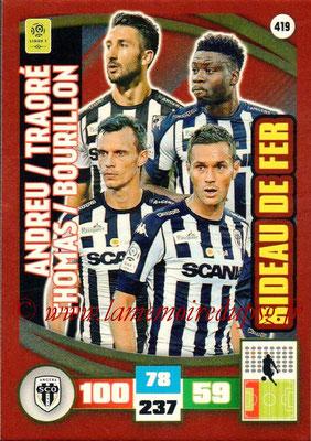 2016-17 - Panini Adrenalyn XL Ligue 1 - N° 419 - Yoann ANDREU + Ismaël TRAORE + Romain THOMAS + Grégory BOURILLON (Angers) (Rideau de Fer)