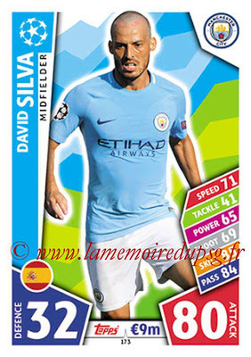 2017-18 - Topps UEFA Champions League Match Attax - N° 173 - David SILVA (Manchester City FC)