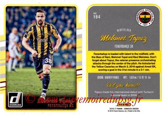 2016 - Panini Donruss Cards - N° 194 - Mehmet TOPUZ (Fenerbahce SK)