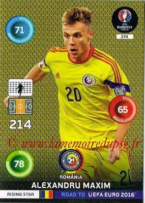Panini Road to Euro 2016 Cards - N° 274 - Alexandru MAXIM (Roumanie) (Rising Star)