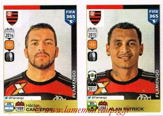 2015-16 - Panini FIFA 365 Stickers - N° 202-206 - Hector CANTEROS + Alan PATRICK (CR Flamengo)