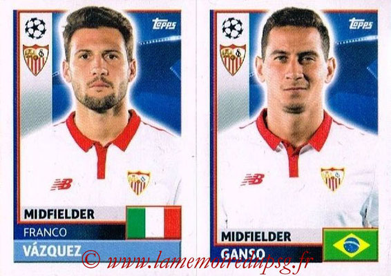 2016-17 - Topps UEFA Champions League Stickers - N° SEV 14-15 - GANSO + Franco VAZQUEZ (FC Seville)