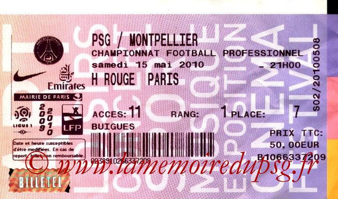 Tickets  PSG-Montpellier  2009-10