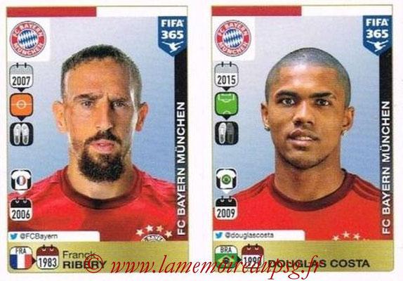 2015-16 - Panini FIFA 365 Stickers - N° 487-488 - Franck RIBERY + Douglas COSTA (FC Bayern Munich)